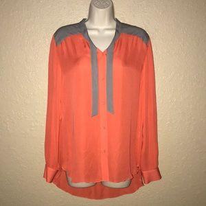 Sz 2 Michelle Mason Orange Gray Blouse